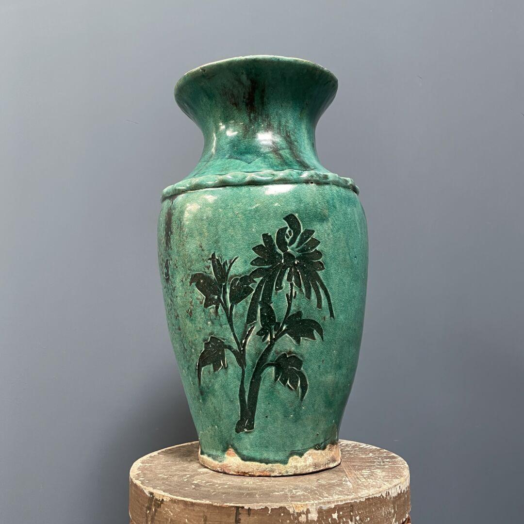Grote turquoise terracotta vaas