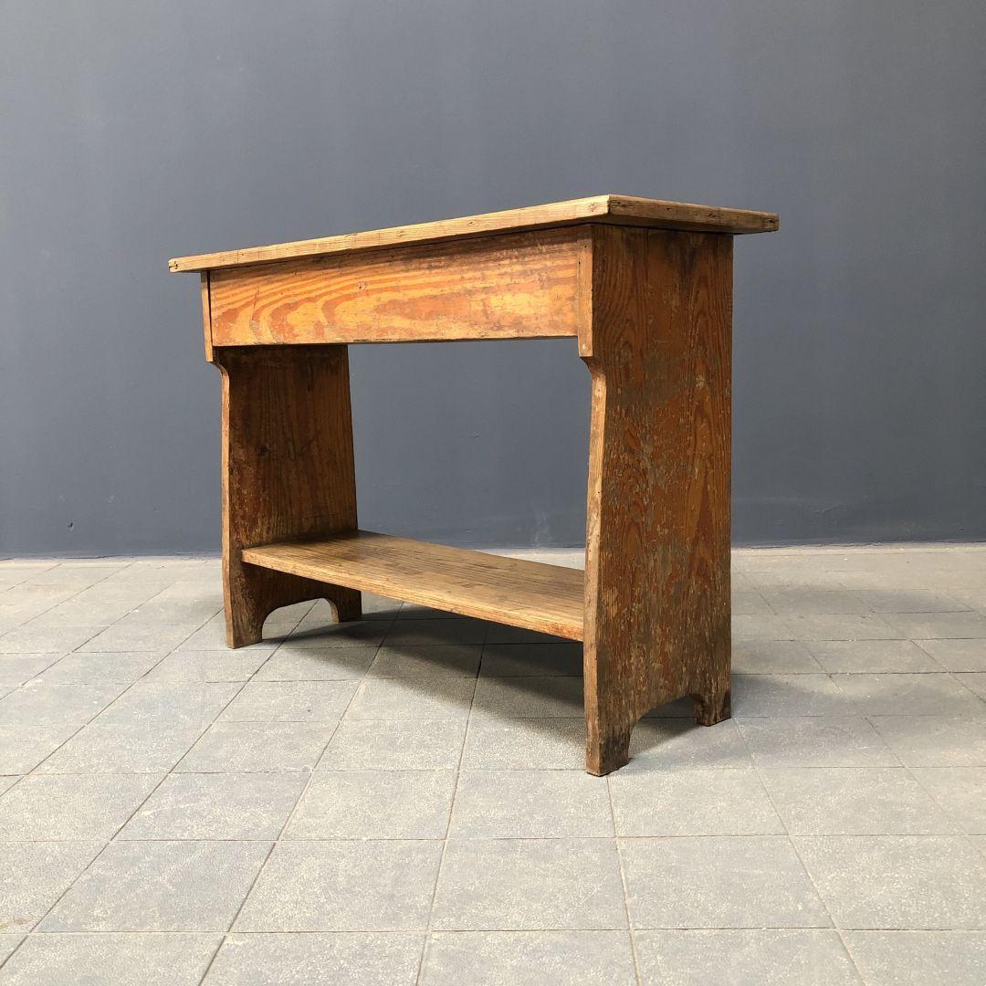 Brocant Bankje Met Klep.Oud Grenen Klep Bankje Met Schap Bert Co Vintage Industrieel