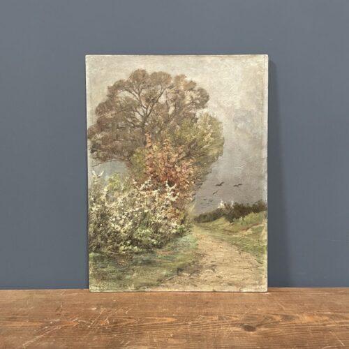 Olieverf schilderijtje op houten paneel