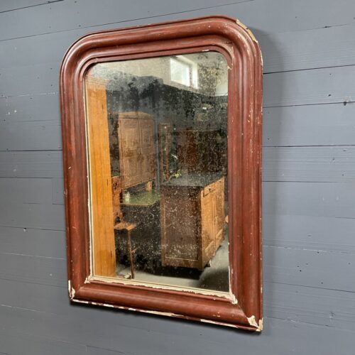 Grote bordeaux rode biedermeier spiegel