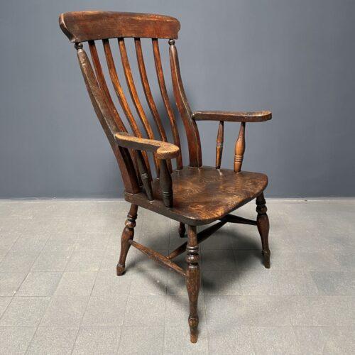 Antieke Engelse windsor stoel met hoge rug