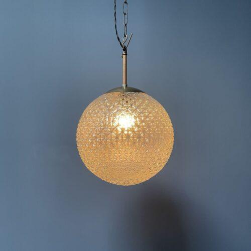Grote glazen bollamp met figuurglas