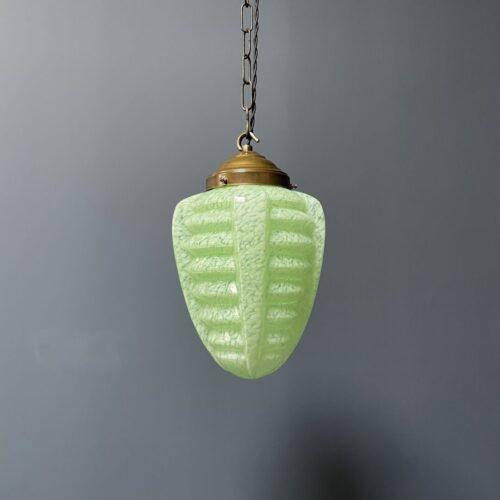 Art deco hanglamp van groen gemarmerd glas