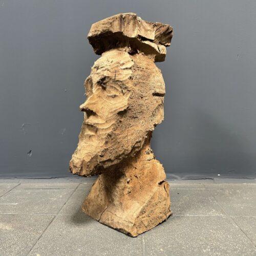 Grof gesneden houten hoofd