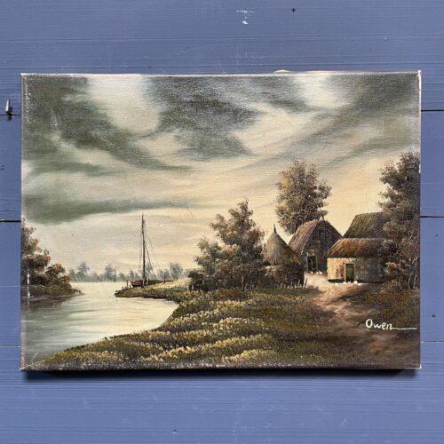 Olieverf schilderij boerderij aan het water