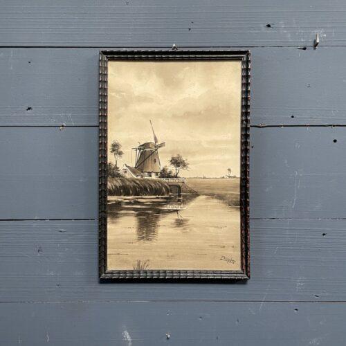 Klein schilderijtje met Hollands landschap