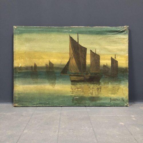 Schilderij met schepen