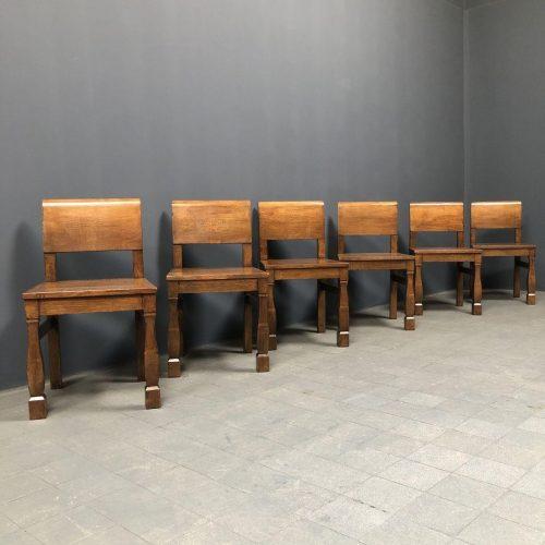 Set van zes brutalist eiken stoelen