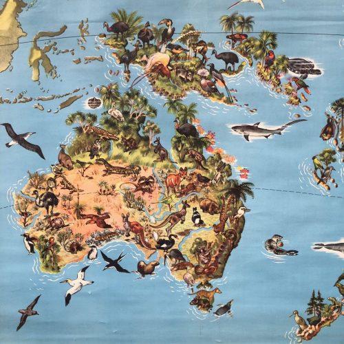 Landkaart van Australië met flora en fauna