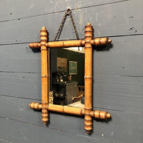 Kleine faux bamboo spiegel