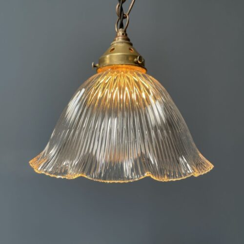 Glazen holophane hanglamp met bajonet fitting