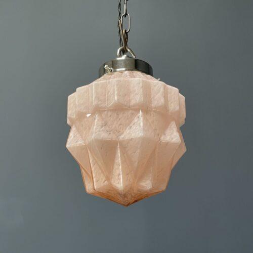 Roze glazen art deco hanglamp