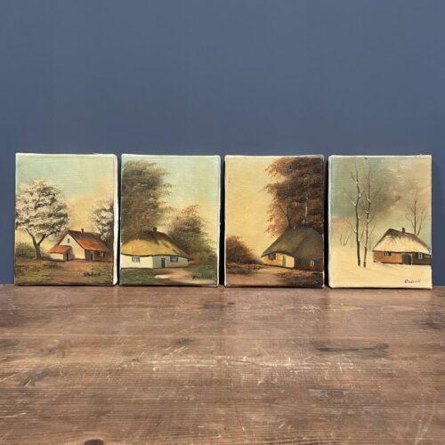 Set schilderijtjes van verschillende jaargetijden
