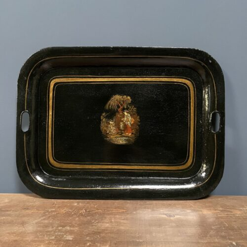 Zwart met goud versierd metalen dienblad