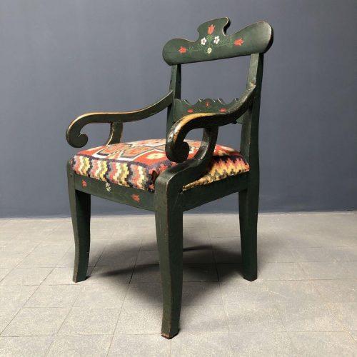 Antieke Zweedse donkergroene stoel